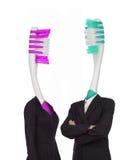 2 зубной щетки одетой в одеждах сердце вишни схематическое сделало томаты фото Стоковые Изображения RF