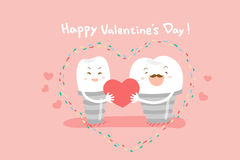 Зубные имплантаты с днем валентинок иллюстрация вектора