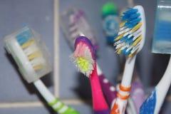 Зубные щетки - близкий поднимающий вверх взгляд стоковая фотография rf