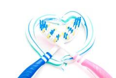 Зубные щетки в сердце Стоковое Фото
