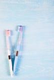 2 зубные щетки и цветка стоцвета на светлой предпосылке Концепция естественных косметик для здоровья Вы я Взгляд от abov Стоковое Изображение