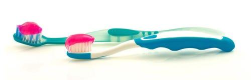 Зубные щетки с зубной пастой Стоковое Изображение