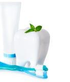 Зубные щетки с мятой, зубной пастой и зубоврачебной зубочисткой изолировали o Стоковое Изображение