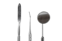 зубоврачебные аппаратуры Зонд зуба, медицинское оборудование на белой предпосылке Стоковое Изображение
