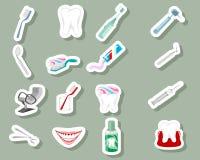 Зубоврачебные значки на серой предпосылке стоковые изображения rf