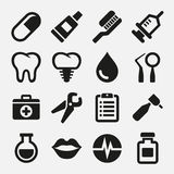 Зубоврачебные установленные значки Стоковое Изображение RF