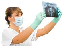 зубоврачебный доктор рассматривает детенышей rx Стоковое Изображение