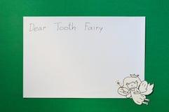 Зубоврачебный отрезок бумаги, милая фея зуба с космосом экземпляра письма для текста Стоковые Изображения