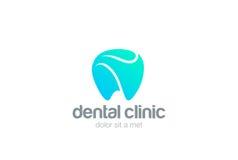 Зубоврачебный шаблон вектора дизайна конспекта зуба логотипа клиники Значок концепции логотипа врача стоматологии дантиста Стоковые Фотографии RF