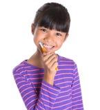 Зубы маленькой девочки чистя щеткой IV Стоковая Фотография RF