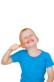 зубы мальчика чистя щеткой Стоковые Фотографии RF