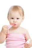 зубы младенца изолированные чисткой белые Стоковые Фотографии RF