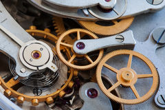 Зубы соединения шестерней Cogs Винтажный взгляд макроса механизма хронометра секундомера, селективный фокус Стоковые Изображения