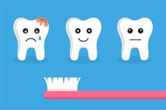 Зубы с различными эмоциями и розовой зубной щеткой Плоская иллюстрация вектора стиля Дизайн концепции зубоврачебной заботы иллюстрация штока