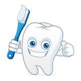 Зубы талисмана шаржа зуба чистя щеткой Стоковое Изображение
