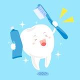 Зуб с зубной щеткой и зубной пастой Стоковое Изображение