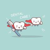 Зуб шаржа супер с зубной щеткой иллюстрация вектора