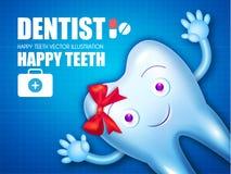 Зуб Helthy с сияющей зубной пастой головка дерзких милых собак персонажа из мультфильма предпосылки счастливая изолировала белизн Стоковые Фото