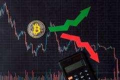 Зыбкост и прогнозирование курсов виртуального bitcoin денег Красные и зеленые стрелки с золотой лестницей Bitcoin на черноте стоковое изображение