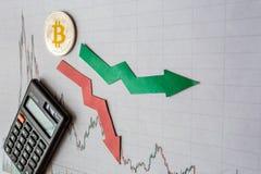 Зыбкост и прогнозирование курсов виртуального bitcoin денег Красные и зеленые стрелки с золотой лестницей Bitcoin на сером цвете стоковые фотографии rf