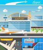 Здание авиапорта и вектор концепции перемещения Стоковые Изображения