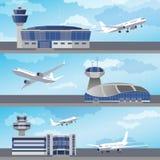 Здание авиапорта с диспетчерской вышкой вектор Стоковые Изображения RF