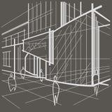Здание архитектурноакустического линейного эскиза современное на серой предпосылке Стоковая Фотография RF