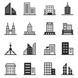 Здание, башня, архитектурноакустические значки иллюстрация вектора