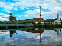 Здание бумажной фабрики в русском городе Kondrovo зоны Kaluga Стоковая Фотография