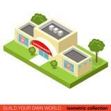 Здание вектора 3d блока супермаркета мола города плоское равновеликое Стоковое Изображение