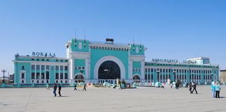 Здание вокзала, Новосибирска, России Стоковое Фото