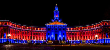Здание города и страны Денвера в сини и апельсине Стоковое Фото
