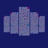 Здание города небоскребов иллюстрации на голубой предпосылке Стоковые Изображения RF