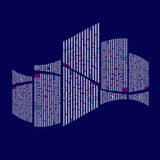 Здание города небоскребов иллюстрации на голубой предпосылке Стоковая Фотография