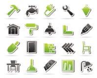 Здание и домашние значки реновации Стоковые Изображения