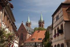 Здание и церковь в Ladenburg Германия Стоковые Изображения