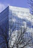 Здание корпоративного бизнеса стеклянное отражая небо и облака Стоковые Фото