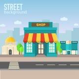 Здание магазина в космосе города с дорогой на плоском стиле Стоковые Фото