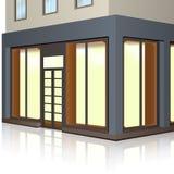 Здание магазина с внешними витринами магазина и входом иллюстрация вектора