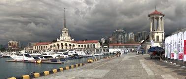 Здание морского порта Сочи на Чёрном море Стоковое Изображение RF