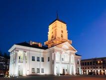 Здание муниципалитет белого здания старый в Минске, Беларуси Стоковое Изображение