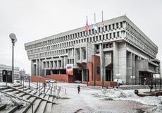 Здание муниципалитет Бостона в зиме Стоковые Изображения