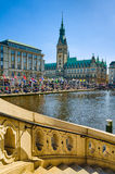 Здание муниципалитет Гамбурга, Германии стоковое фото rf