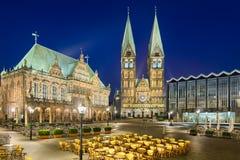 Здание муниципалитет и собор Бремена, Германии Стоковая Фотография RF