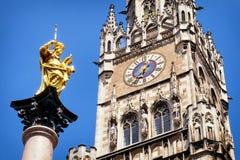 Здание муниципалитет Мюнхена Стоковые Изображения RF