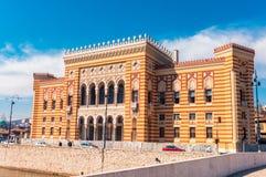 Здание муниципалитет Сараева, Vijecnica Стоковое Фото