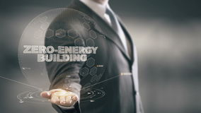 Здание Нул-энергии с концепцией бизнесмена hologram акции видеоматериалы