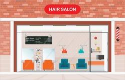 Здание парикмахерской внешнее и внутренний салон красоты Стоковое Фото