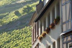 Здание под vinetard горного склона Стоковое Изображение RF
