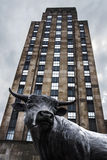 Здание статуи и холма BullCity Дарема NC Bull Стоковое Фото